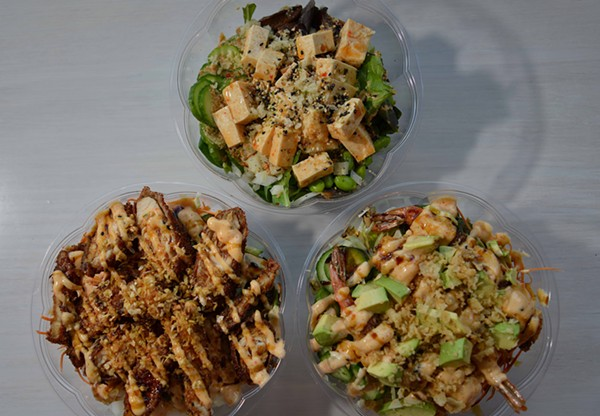 Poke Munch's signature bowls feature a variety of proteins for all diets, including (top) sweet chili tofu on top, soy marinated chicken fingers (bottom left) and tempura-battered shrimp (bottom right). - TOM HELLAUER