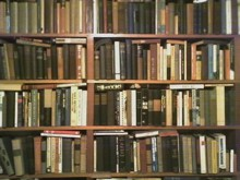 A small section of the wall-to-wall bookshelves in Jarvis' study.
