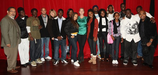 Green, center, with members of Youth Expressions, who will perform tonight at Washington University. - SUBMITTED PHOTO.