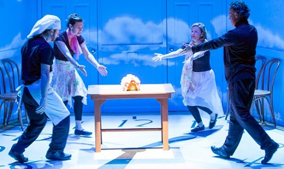 Behold! The Mighty Loaf. The Actors' Studio cast computes the existential implications of bread buying in Philip Glass Buys a Loaf of Bread. - PHOTO: JOHN LAMB
