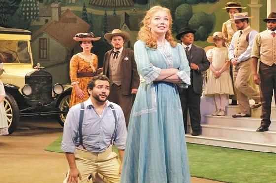 René Barbera as Nemorino, Susannah Biller as Adina, and the Opera Theatre chorus. - KEN HOWARD