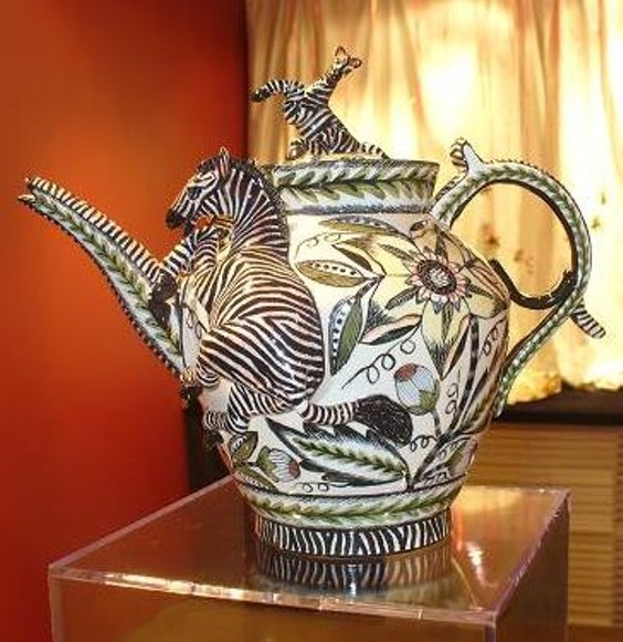 A Zebra teapot is one of many pieces up for sale this weekend.