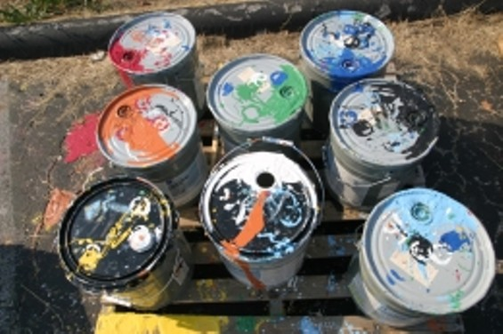 Paint buckets used by Schmidt and crew - PHOTO BY NICHOLAS PHILLIPS