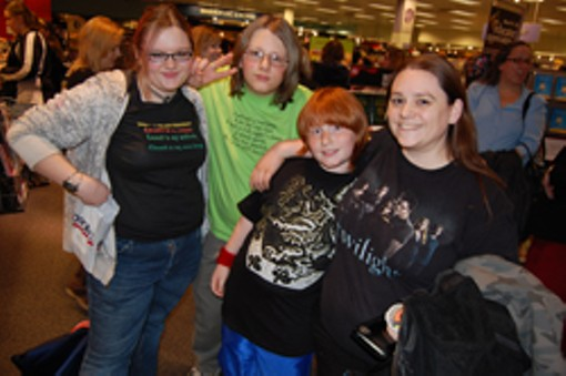 Blaylock, far left, the first in line to buy the Twilight DVD.