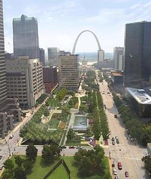 Aerial rendering of Citygarden.