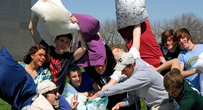 A few pillow-fighters. - BY DAVID WALTHALL