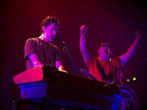 John Linnell and John Flansburgh of They Might Be Giants on Friday night at the Pageant. The group played its entire 1990 album, Flood. See more photos here - PHOTO: JON GITCHOFF