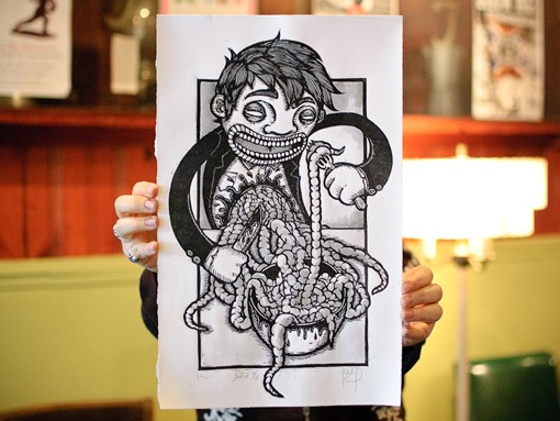 Nick Francel's prints exhibited a somewhat grotesque sense of humor, delivered through detailed, high-contrast illustrations. And bowls of guts. View a 20-photo slideshow here. - PHOTO: JASON STOFF