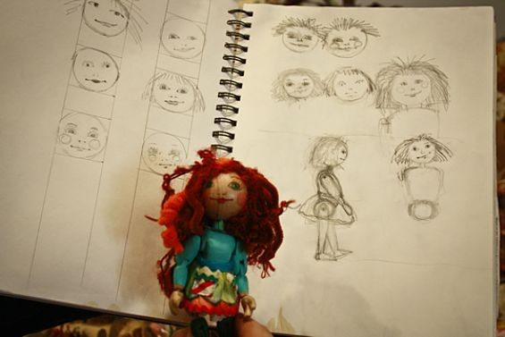 Dolly and a few of Linquist's preliminary sketches. - SAVANNAH DODD
