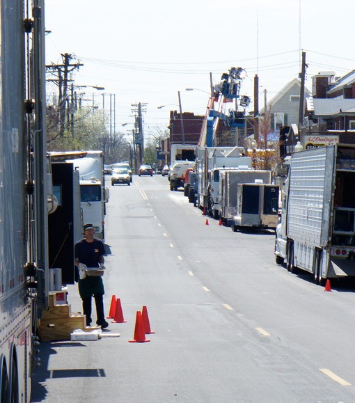Production trucks line both sides of Sutton Avenue on Thursday afternoon.