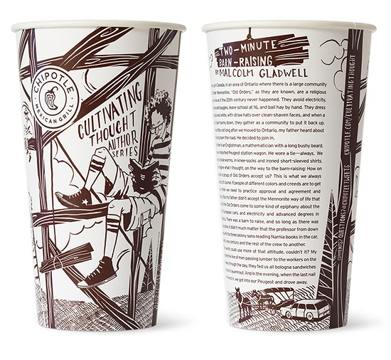 """One of Chipotle's """"Cultivating Thought"""" cup, penned by Malcolm Gladwell."""