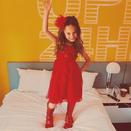 Harlow Rosenberg shows off her Kinky Boots fashion before seeing the musical. - COURTESY OF NOAH ROSENBERG