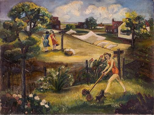 """""""Woman in a Swimsuit Mowing"""" sold for $1,500 at auction."""