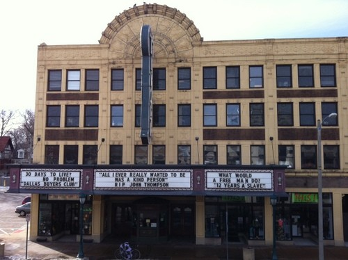 The Tivoli Theatre's new marquee honors John Thompson, the late greeter and ticket taker with a reputation for kindness.