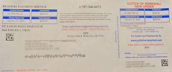 One of the fraudulent renewal notices that began arriving in St. Louis mailboxes last week. - COURTESY OF JOHN HOFFMANN