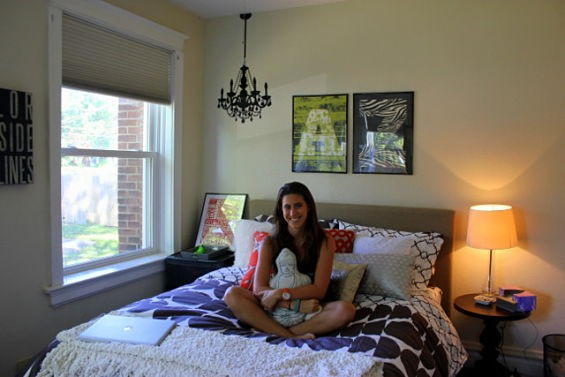 Dormify founder and Wash. U. senior Amanda Zuckerman in the bedroom of her off-campus apartment, decorated with Dormify's Fall Into Fall bedding collection.