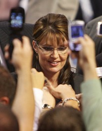 Palin in 2008 at Chaifetz Arena in St. Louis after the vice presidential debate. If you want to see her here now, you'll have to pay for it. - PHOTO: LYLE WHITWORTH