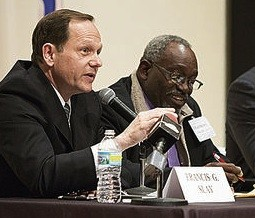 Francis Slay, left, and Jimmie Matthews, right at a mayoral debate. - THEO R. WELLING