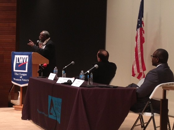 Jimmie Matthews, left, at a mayoral debate. - SAM LEVIN