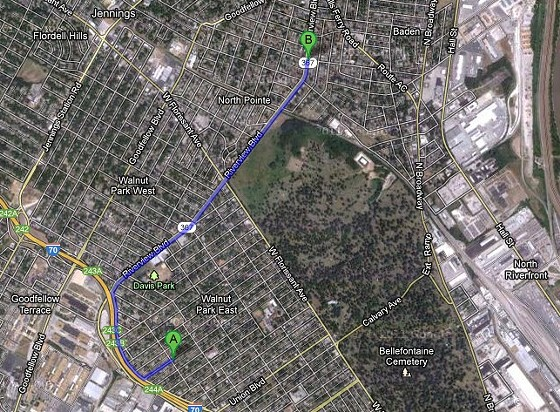 Beacon Avenue (point A) to McLaran Avenue and Riverview Boulevard (point B).