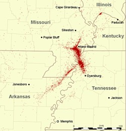 That red smear actually is a series of dots representing the 4,000 earthquakes in the zone since 1976.