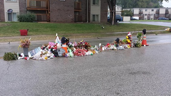 The ever-evolving memorial where Michael Brown was shot and killed. - JESSICA LUSSENHOP