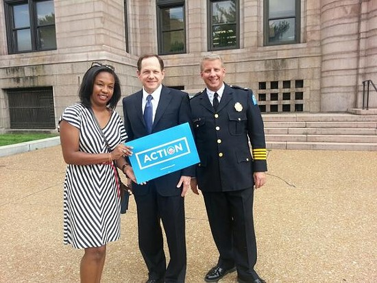 Police Chief Sam Dotson and Mayor Francis Slay at an Organizing for Action gun control rally. - VIA TWITTER / @CHIEFSLMPD