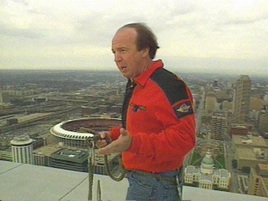 Larry Conners reporting on top of the Arch. - VIA FACEBOOK