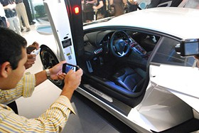 Fans take pics of the Aventador's interior - PHOTO BY ALEX MACFARLANE