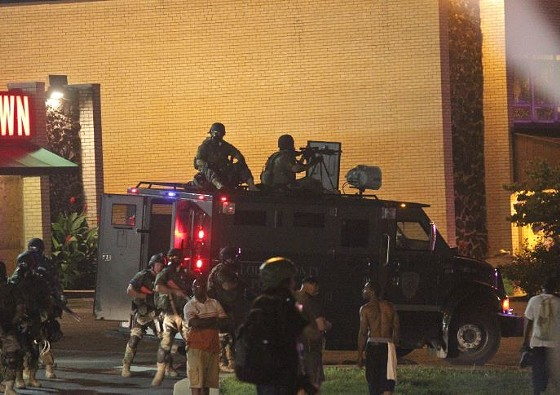 This armored truck took up an advance position on West Florissant, then moved on to the QuikTrip.