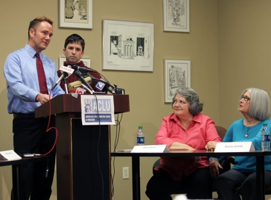 Fitzwater and Ziegler during the ACLU press conference in February that announced the lawsuit. - DANNY WICENTOWSKI
