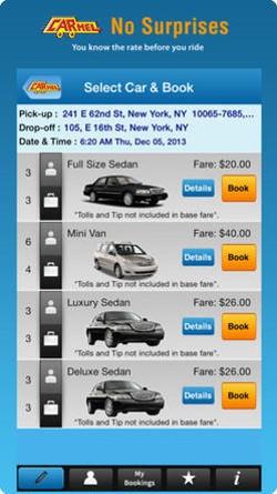 The app lets you choose what kind of car picks you up. - CARMEL
