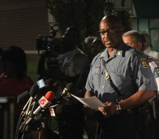 Missouri Highway Patrol Captain Ron Johnson addressed the press early Monday morning. - DANNY WICENTOWSKI