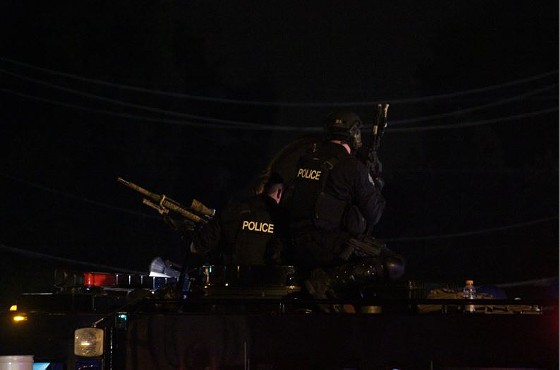Police snipers were also on the scene in Ferguson last night. - DANNY WICENTOWSKI