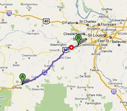 The buses were traveling from St. James (A) to Six Flags (B) when they crashed at Gray Summit (red).