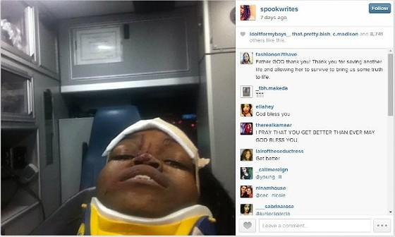 A selfie Mya Aaten-White took in the ambulance on August 12, 2014. - COURTESY OF MYA AATEN-WHITE