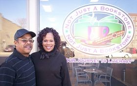 Richard and Connie Cheek outside the former location of Not Just a Bookstore.