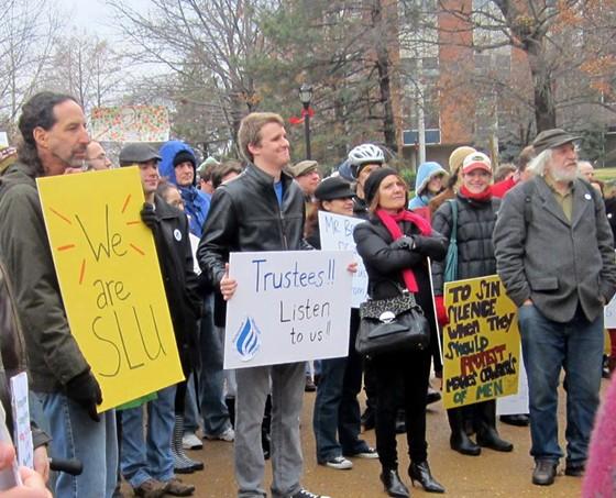 A recent SLU protest. - VIA FACEBOOK