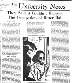 Student coverage of the 1969 occupation of Ritter Hall at SLU.