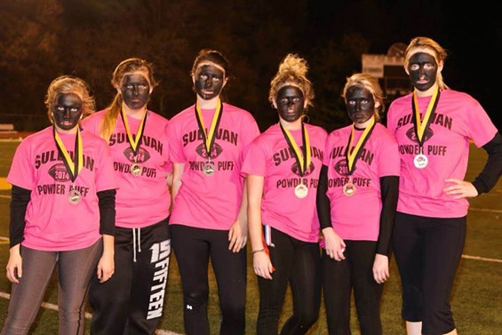 The Sullivan High School senior girls sported blackface at their annual powder-puff football game.