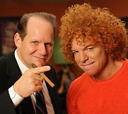 Zany with frenemy Carrot Top.