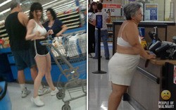 Ladies ain't got time for shirts, pink or otherwise. - PEOPLE OF WALMART