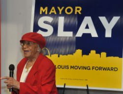 Frankie Muse Freeman, 96-year-old civil rights activist and Slay supporter at a recent event. - SLAY CAMPAIGN