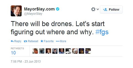 Mayor Slay later said he was referring to FBI drones in this tweet. However, he also acknowledged that drones would likely be used for local law enforcement.
