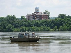 USGS personnel sample water on the Missouri River at Hermann last month. - KELLY BRADY, USGS