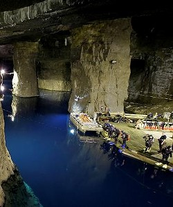Divers prepare to plunge below the surface inside the Bonne Terre Mine.