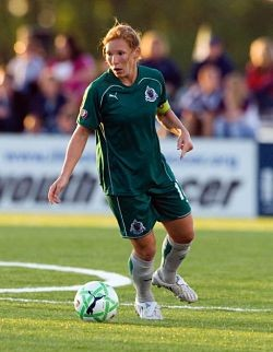 """This is Lori Chalupny. She plays on the U.S. women's Olympic soccer team. When you see her, you should go, """"Nerinx Hall, woooo!"""" as loud as you can."""