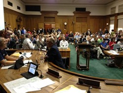 Councilmember Bieker's view from the dais last night. - THOMAS BIEKER