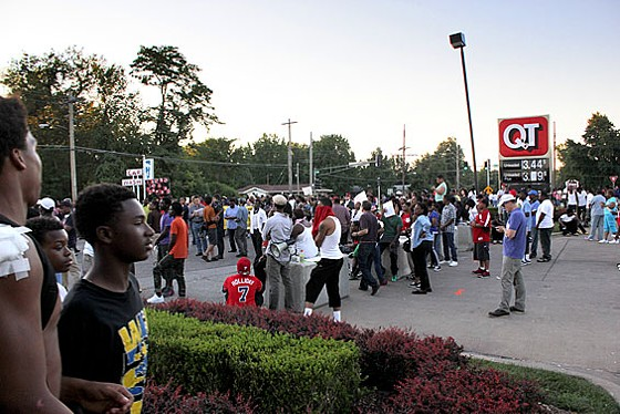The burned-out QuikTrip has become the epicenter of unrest in Ferguson.