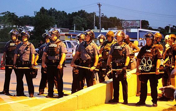 Tension built as the sun set on Ferguson.